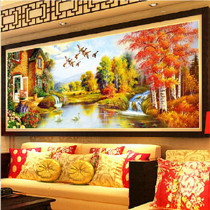Image 4 - DIY DMC Cross Stitch,Sets for Embroidery Kits,Gold Landscape painting European Garden Pattern Accurate printing Cross Stitching