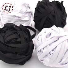 10 мм/12 мм узкая Высококачественная эластичная тесьма 5yd/лот черно-белая 8 ленточная лента для дома DIY эластичная лента Швейные аксессуары