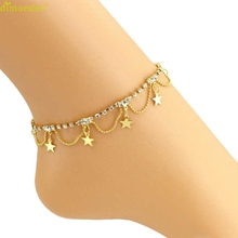 Diomedes Newest Diomedes Star Crystal Tassel Anklet Foot Jewelry Women Summer Beach Barefoot Sandal Anklet Trendy Jewelry