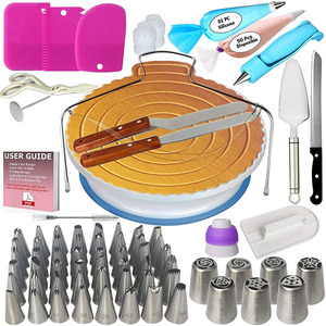 Image 1 - 124PCS/Set Cake Decorating Tools Icing Tips Turntable Pastry Bags Couplers Piping Nozzle Baking Tools Set for Cupcakes Cookies