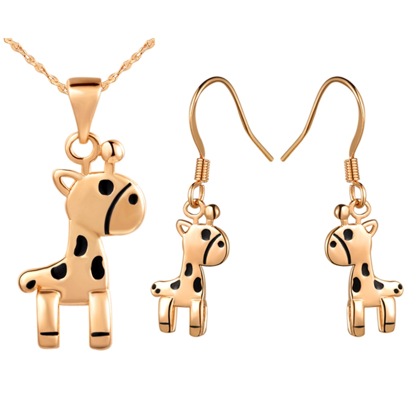Nobleness and Cute Women Jewelry Sets Rose Gold & White Gold Drop GlueGiraffe Pendant Necklace Earrings For Party Bijoux T254