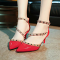 High Heels Women Leather Pumps High Quality 2016 Thin Heel Pointed Toe Women's High-heeled Shoes Strap Thin Heel Sandals P119