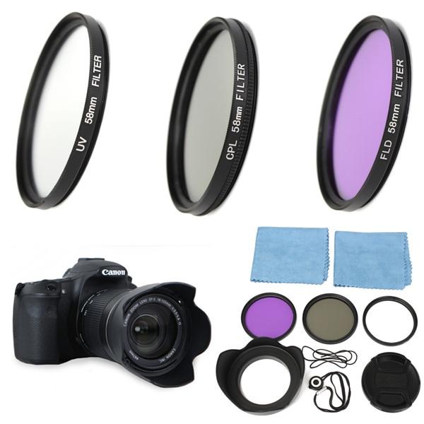 58mm UV FLD CPL Circulaire Polarisant Filtre Kit Set + Lens Hood Pour Canon EOS 1200D 750D Rebel T4i T3i pour T3 T2i T1i XT XS XSi
