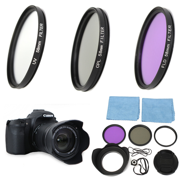 58mm UV FLD CPL Circular Polarizing Filter Kit Set + Lens Hood For Canon EOS 1200D 750D Rebel T4i T3i for T3 T2i T1i XT XS XSi