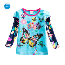 JUXINSU Girls Cotton Long Sleeve T-shirt Flower Butterfly Autumn Winter Casual Style tshirt for Baby Girl Clothing 1-5 Years