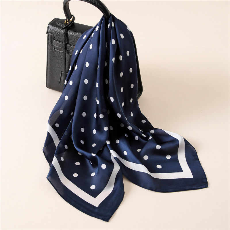 Bufanda de seda Sqauare de Moda de España, bufanda de seda de marca de lujo, bufandas de seda de satén de Hijab, bufandas de cabeza de Foulard 2018 nuevo