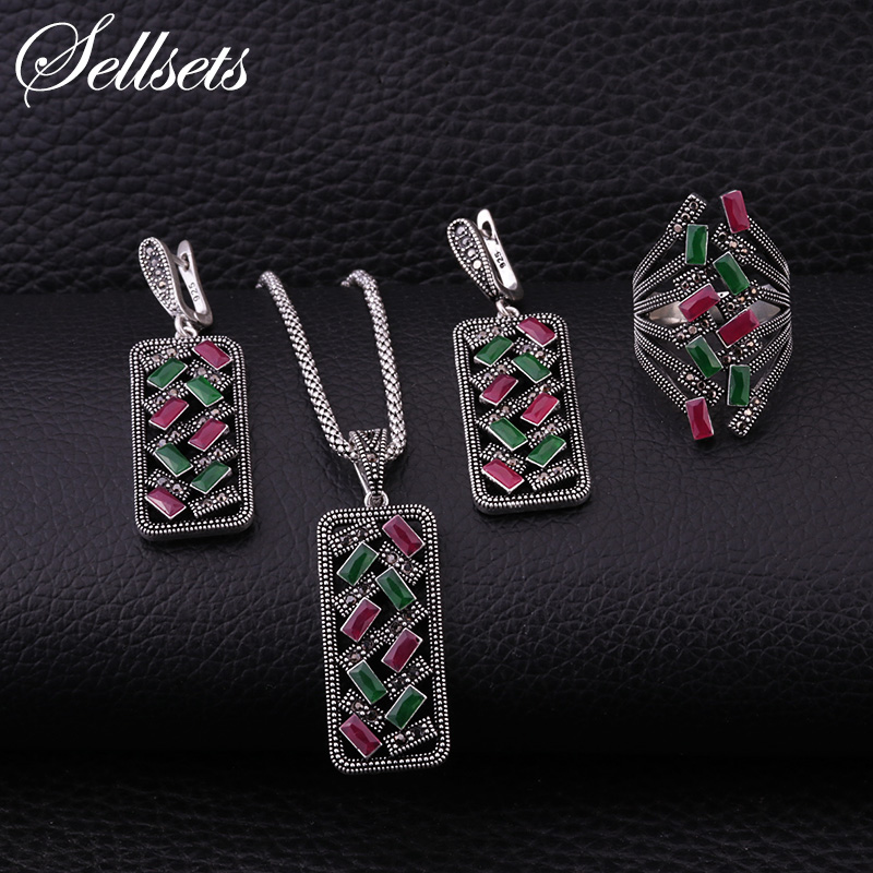Sellsets New Arrival Silver Color Vintage Jewelry Set Black Rhinestone And Multicolor Square Resin Necklace Earrings Ring Sets vintage alloy rhinestone inlay embellished necklace earrings set