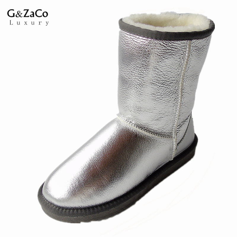 G&Zaco Luxury Brand Sheepskin Snow Boots Natural Wool Sheep Fur Boots Middle Button Women Winter Genuine Leather Boots