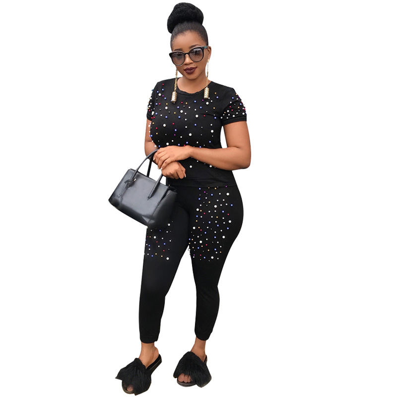 two piece tracksuit women fashion pearls beading two piece