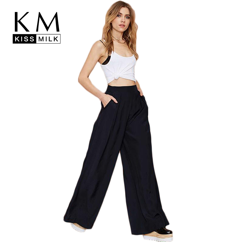 Kissmilk Plus Size Women New Fashion Solid Black Loose Casual High Wasit Basic Holiday Party   Wide     Leg     Pants