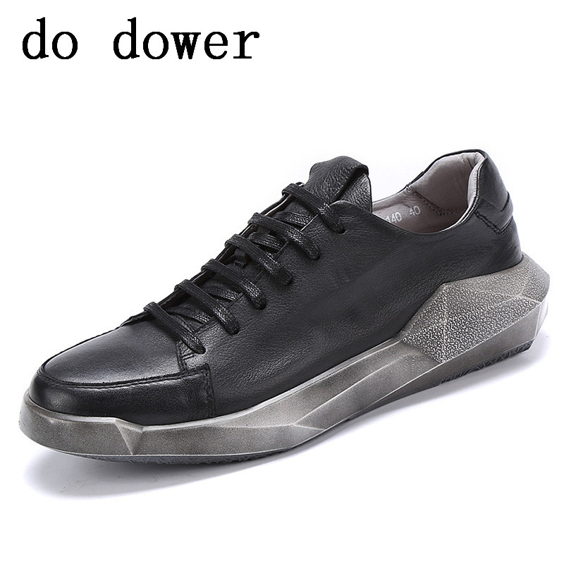 New Men Genuine Leather Sneaker Luxury Trainers Summer Male Adult Shoes Casual Old Flats Lace-Up Spring Black White Shoes цена 2017