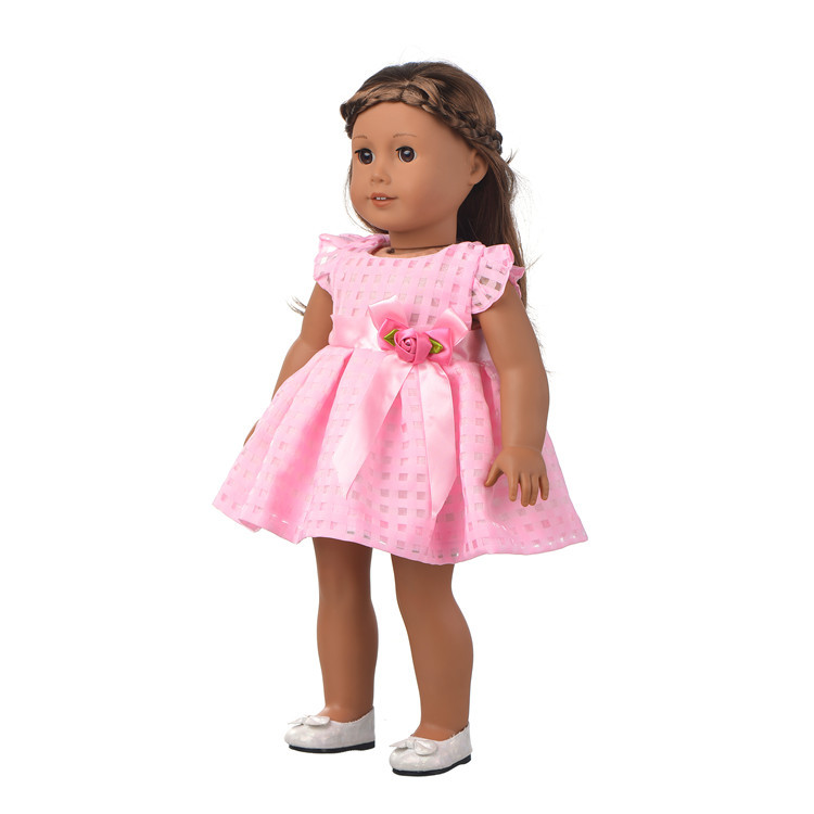 Pink Dress+Underpants Doll Clothes Wear fit 18 inch American Girl Dress Doll Accessories Kids Birthday Gift A0001 9 colors american girl doll dress 18 inch doll clothes and accessories dresses