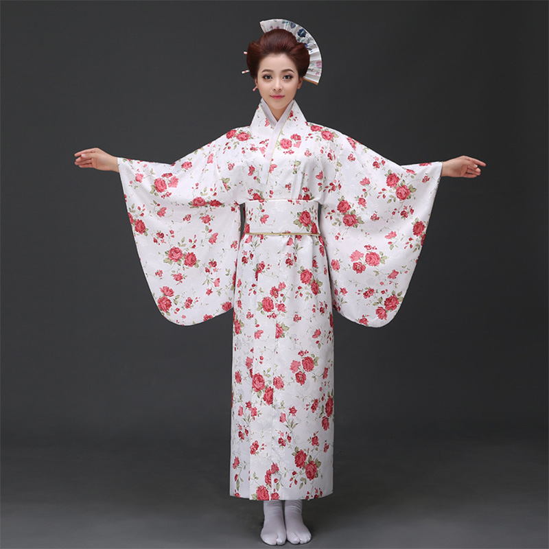 Floral Printed Japanese Kimono Clothing Women Yukata Traditional Kimonos Female Bathrobe Japanese Ancient Clothes