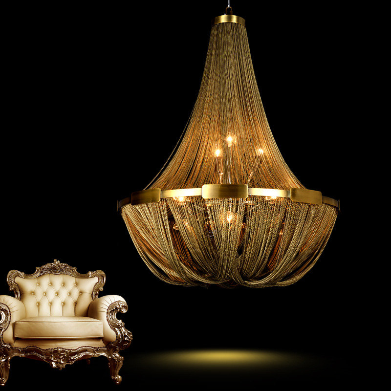 Post modern creative LOFT tassel chain living room chandelier restaurant bedroom lamp duplex house villa Lamps
