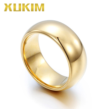 Xukim Jewelry High Quality Wedding Band Bling PVD Gold Plating Tungsten Engagement Ring Couple Gift for Men Women