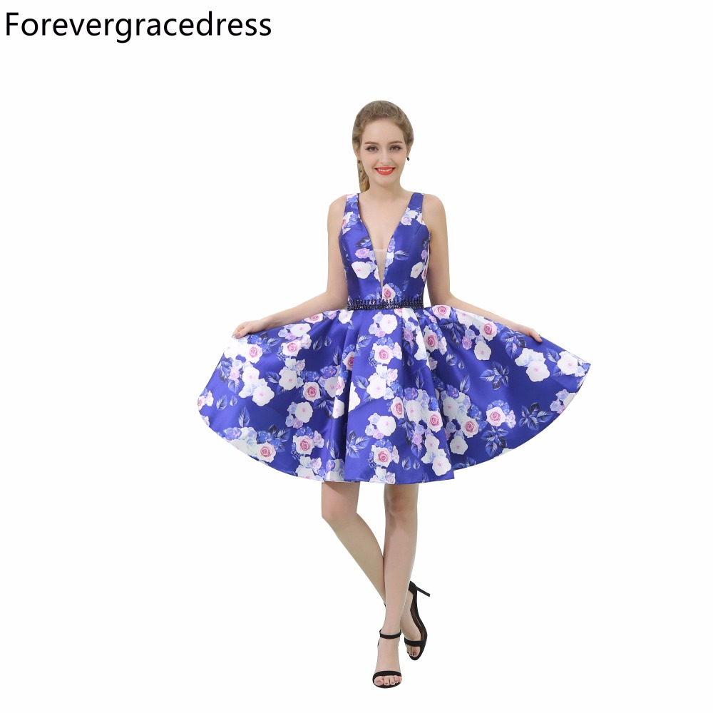 Forevergracedress 2018 New Floral Print Cocktail Dress Deep V Neck Knee Length Short Homecoming Party Gown Plus Size Custom
