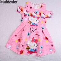 MULTICOLOR New Hello Kitty Dress Incense Shoulder Sleeveless Baby Girl Summer Dress Children Clothing Dresses For
