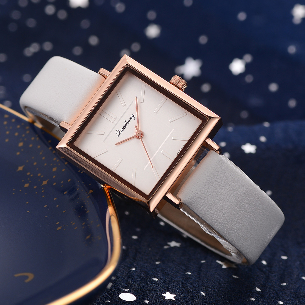 SPRAOI Top Brand Square Bracelet Watch Leather Quartz