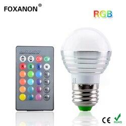 Foxanon E27 16 цветов Изменение 3 Вт 85-265 в волшебный RGB светодиодный светильник сценический DJ светильник с регулируемой яркостью RGB лампа + 24key ИК-пу...