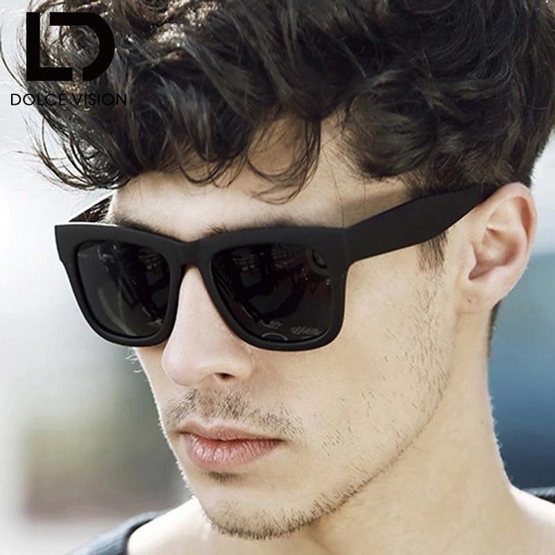 DOLCE VISÃO Polarizada Óculos De Sol Dos Homens Da Marca Designer de Moda Óculos  De Sol Para Homens Preto Legal Espelho Shades Oculos Masculino Quadrado 17e0cf023a
