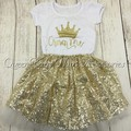 5set/lot Glitter Gold Birthday Outfit Glitter Gold Bodysuit Baby crown Glitter shirt Matching gold skirt