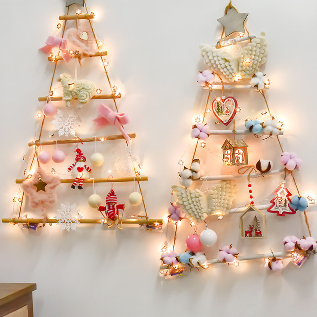 Us 17 3 35 Off Christmas Nordic Style Artificial Fake Tree Wooden Tree Wall Hanging Ornaments New Year Nursery Kids Room Decor For Home Navidad In