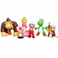 6 sztuk Zestaw Super Mario Bracia Toad DK Donkey Kong Kon Waluigi Ghos Rysunek Loose Darmowa Wysyłka
