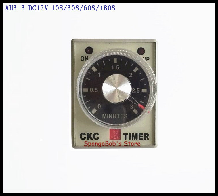 2pcs/Lot AH3-3 DC12V 10S/30S/60S/180S Power On Delay Timer Time Relay 12VDC 0-10/30/60/180 seconds 8 Pins