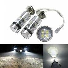 2 шт. Высокое качество H3 Высокая мощность 100 Вт 20SMD 6000K автомобильный Белый светодиодный противотуманный фонарь лампы Дневной ходовой светильник DC12V