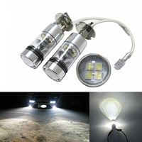 2PCS Top Quality H3 High Power 100W 20SMD 6000K Car Auto White LED Headlight Bulbs Fog