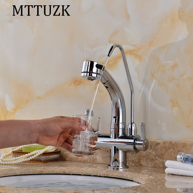 MTTUZK Multifunctional Kitchen Faucet Hot Cold Water Kitchen Faucet Pull Down Faucet Pure Water Faucet Drinking