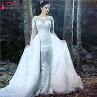 2016 Arabic mariage gelinlik Mermaid Detachable Skirts Sexy illusion Bodic Wedding Dress Long Sleeve vestido de noiva Z083