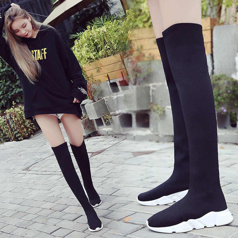 SHANTA Kadın Çorap 2019 Yeni Streç Kumaş Ayakkabı Üzerinde Kayma Diz Çizmeler üzerinde Kadın Pompaları Çizmeler Womens