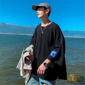 Image 3 - Мужская летняя футболка с коротким рукавом, семиконечная футболка большого размера с коротким рукавом для влюбленных, Корейская версия тенденции сострадания, лето 2019