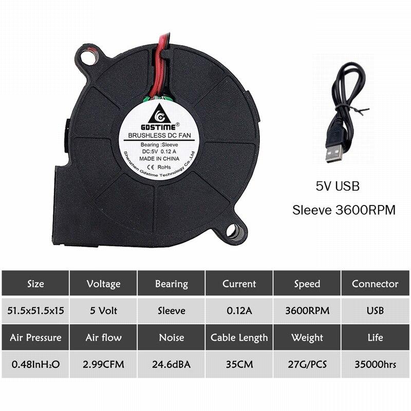 2 шт. Gdstime 5015 50 мм DC 24 в 12 В 5 В 2Pin шариковый/втулка подшипник бесщеточный охлаждения турбины вентилятор 50 мм x 15 мм Вентилятор Кулер - Цвет лезвия: 5V Sleeve USB