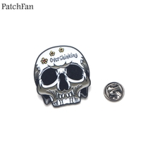 Patchfan overthinking funny letter skull Zinc pins para backpack clothes medal for bag shirt badges brooches men women A1374