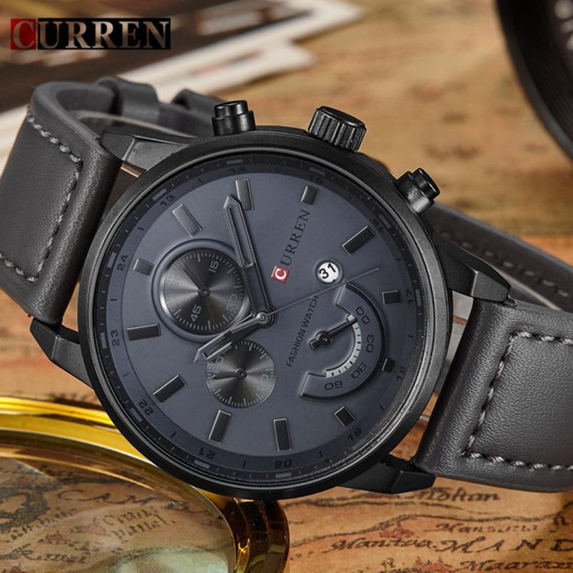 16e0469d150 Moda Casual Do Esporte dos homens Relógio de Quartzo Dos Homens Relógios  Top Marca de Luxo relogio feminino Relógio de Pulso de Couro Relógio  Masculino ...