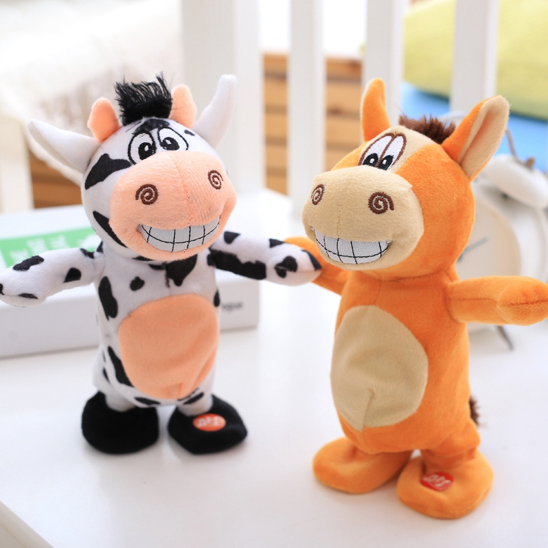 20cm Talking Donkey Sound Record Stuffed Kawaii Animal Plush Cow Electronic Moving Soft Toy Gift For Children Kids Baby
