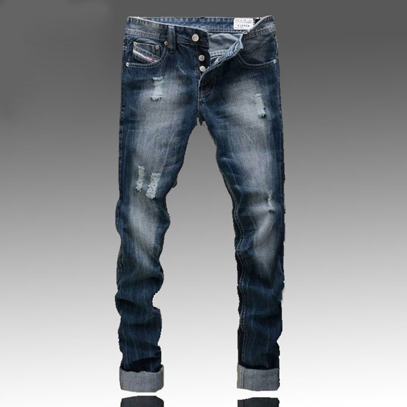 Famous  brand-clothing Fashion Designer Jeans Men Straight Blue Color Printed Mens Ripped Jeans,Skinny Biker jeans homme famous brand mens jeans straight ripped biker jeans for men zipper denim overalls men fashion designer pants blue jeans homme