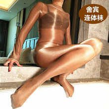 70D women cutouts hockey full footless bodystocking open crotch oil Shiny body stockings one-piece lingerie