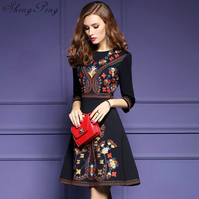 2018 New Mexican Embroidered Dress Woman Black Boho Chic Dresses Las Tunic Style