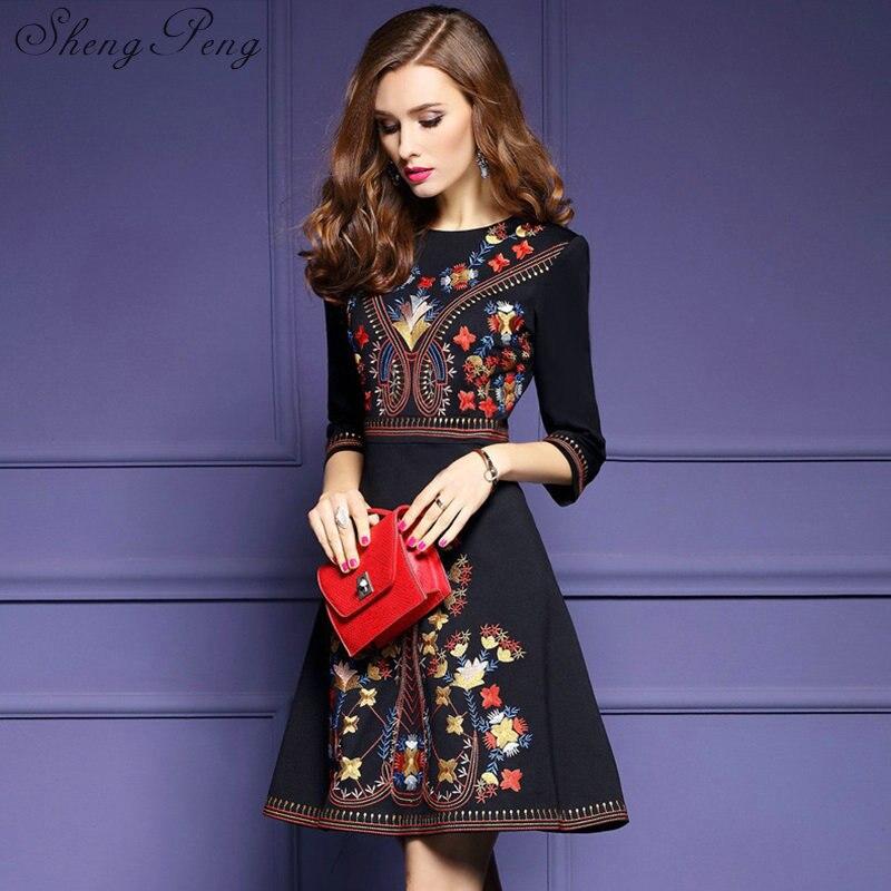 d92302880742 Donna Cc175 Messicano Signore Vestiti Nuovo Tunica Ricamato Boho Vestito  Nero Chic 2018 1 Delle Style ...