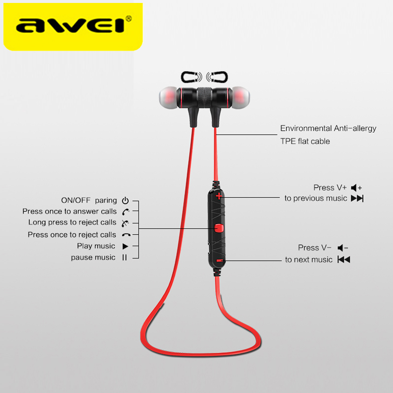AWEI A920BL Update Version Bluetooth V4.1 Earphone Wireless Headphone With Microphone Neckband Headset Auriculares kulakl k 5