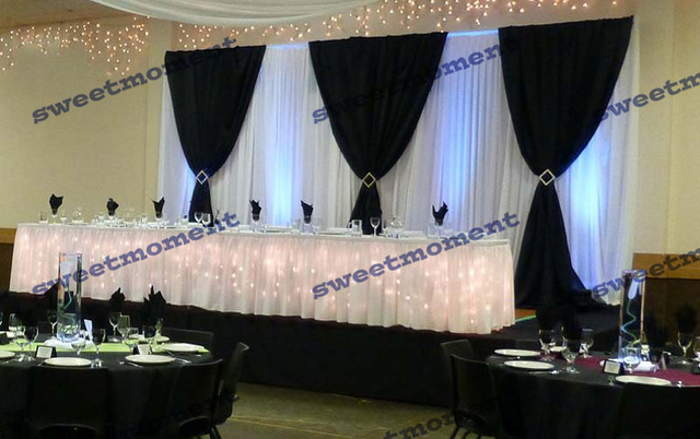 behind event drapes backdrop of tall party events ohio flowing drape products rentals black icicle all arches white wedding an consisting is and by curtains lights illuminated