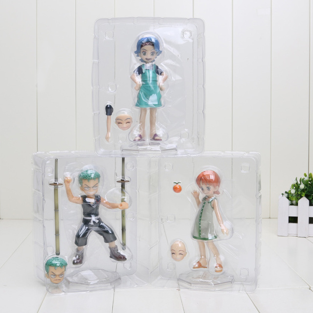 One Piece Roronoa Zoro Nojiko Nami Childhood version  10cm Anime Action Figure Collectible Model Toy