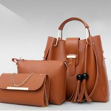 купить Vintage Bucket Bag Woman Composite Bag Women Pu Leather Shoulder Bags Handbag Tassel  Tote Fashion Ladies Messenger Bags по цене 2630 рублей