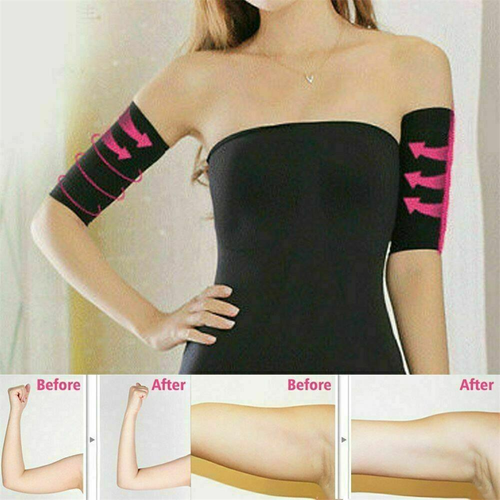 1Pair Women Elastic Shaperwear Slimming Compression Slimming Arm Belt Helps Shape Upper Arms Sleeve Taping Massage For Women #D
