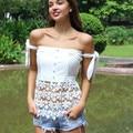 Nova wmen marca floral rendas encabeça moda de slash neck lace branco camisa de zíper arco Elástico camisa de renda fora do ombro tops de renda