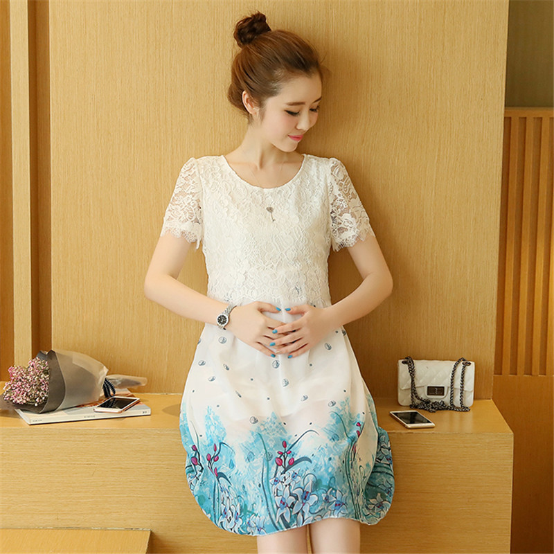 2017 Top fashion sweet type summer maternity skirt maternity chiffon clothes for pregnant women