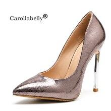 Zapatos de marca mujer zapatos de tacones altos las señoras 8 cm 10 cm 12  cm bombas brillante tacones altos oro Sexy zapatos de . c834198173a2
